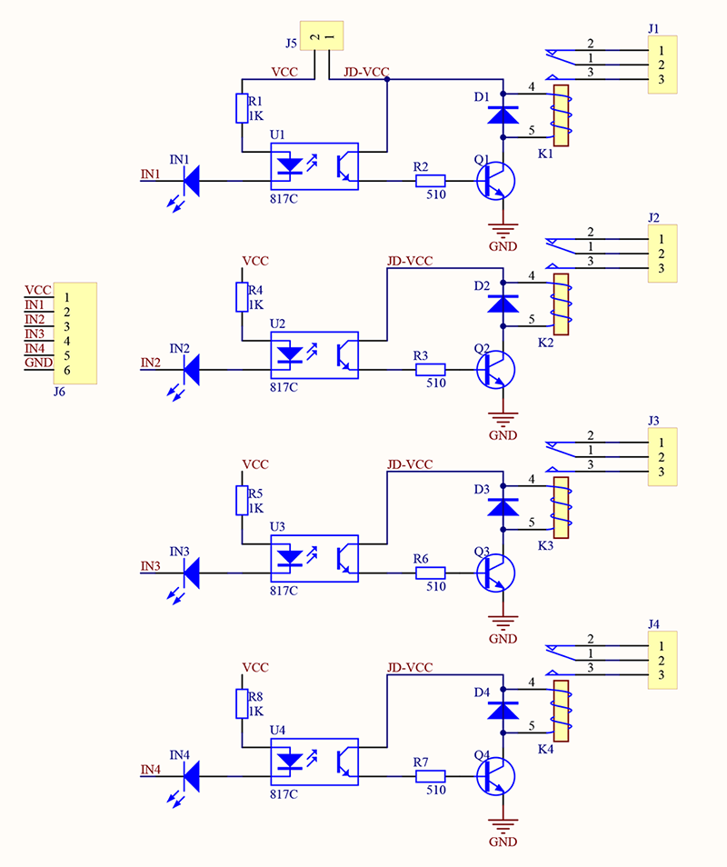 4 Channel 5V Relay Module - Wiki