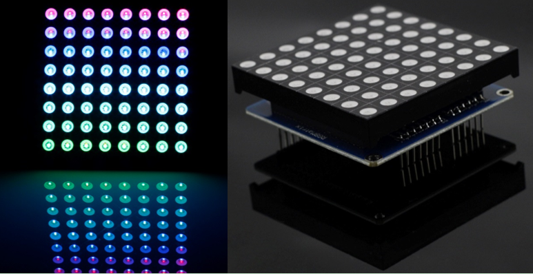 Full Color RGB LED Matrix Driver Shield + RGB Matrix Screen